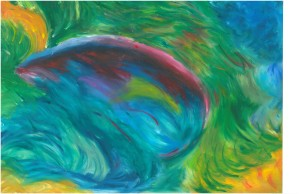 Nature's Womb an oil pastel by Shelley Lockwood