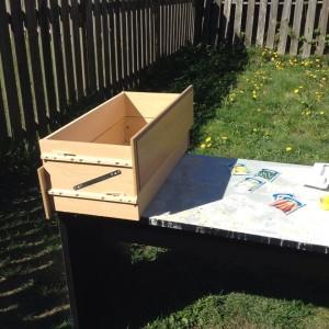 Reusing an old desk for table top backyard gardening